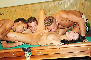 abiding Ball-gagged three-way youth comprehensive