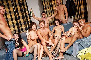 Hard student anal orgy at B-day fuck party